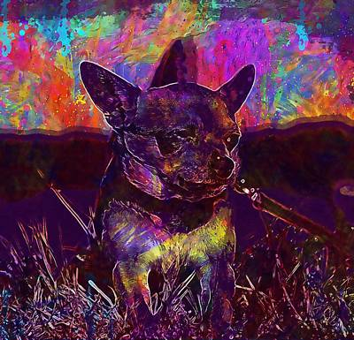 Chihuahua Digital Art - Chihuahua Dog Sobel Fur Pets Nos  by PixBreak Art