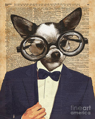 Teenagers Mixed Media - Chihuahua Hipster Dictionary Art by Jacob Kuch