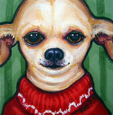 Chiwawa Portrait Wall Art - Painting - Chihuahua In Red Sweater - Boss Dog by Rebecca Korpita