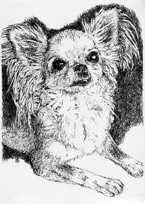 Contemporary Dog Art Drawing - Chihuahua by KM Paintings