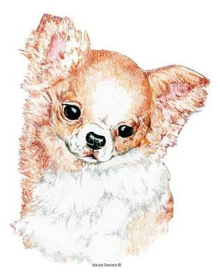 Chi Drawing - Chihuahua, Long Coat by Kathleen Sepulveda