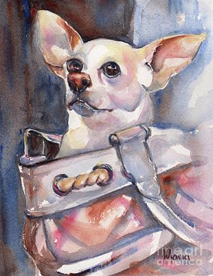 Watercolor Pet Portraits Painting - Chihuahua by Maria's Watercolor