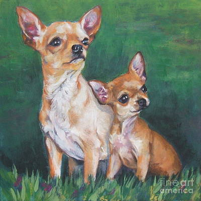 Short Hair Chihuahua Painting - Chihuahua Mom And Pup by Lee Ann Shepard