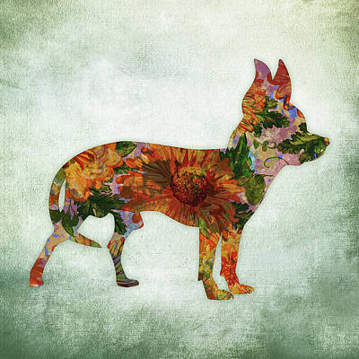 Watercolor Pet Portraits Wall Art - Digital Art - Chihuahua On Green by Flo Karp