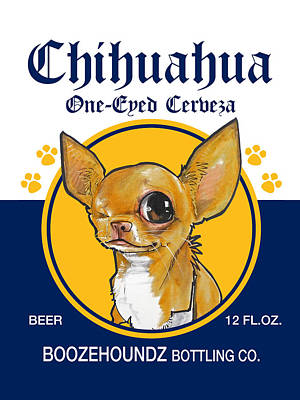 Food And Beverage Drawings - Chihuahua One-Eyed Cerveza by John LaFree
