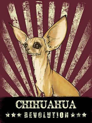 Drawing - Chihuahua Revolution by John LaFree