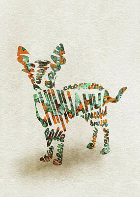 Chihuahua Watercolor Painting / Typographic Art Art Print