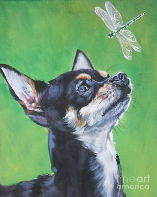 Chihuahua Painting - Chihuahua With Dragonfly by Lee Ann Shepard