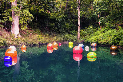 Photograph - Chihuly Reflections - Crystal Bridges Museum Of American Art by Gregory Ballos