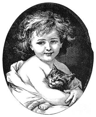 Photograph - Child & Pet, 19th Century by Granger