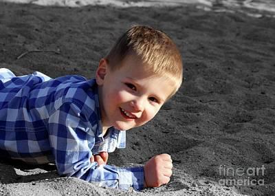 Photograph - Child 03 Playground Enhanced by E B Schmidt