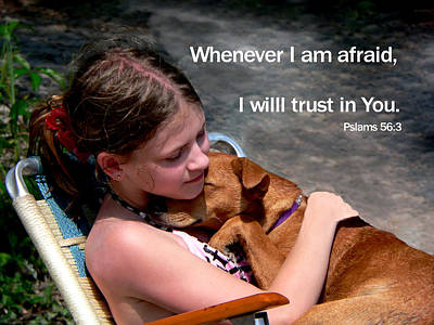 Photograph - Child And Puppy Psalms by Kathy K McClellan