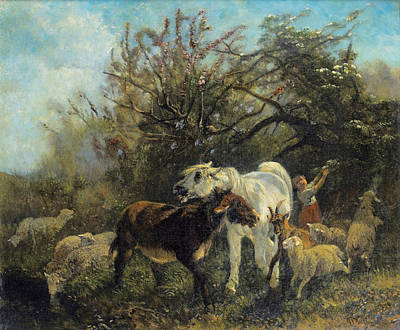 Painting - Child And Sheep In The Country by Giuseppe Palizzi