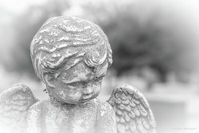 Photograph - Child Angel With Wings, Cemetery Angel Black And White by Melissa Bittinger