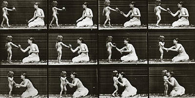 1887 Photograph - Child Bringing Bouquet To A Woman, Plate 465 From Animal Locomotion, 1887  by Eadweard Muybridge
