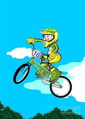Child Flying On Bmx Bicycle With Protective Clothing In Green And Yellow Color Art Print