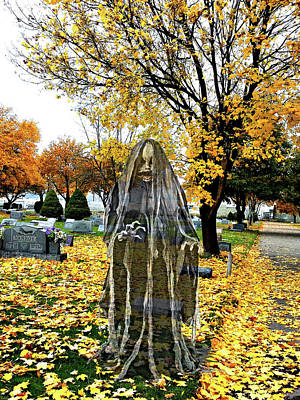 Graveyard Mixed Media - Child Ghost Spirit In Cemetery by Elizavella Bowers