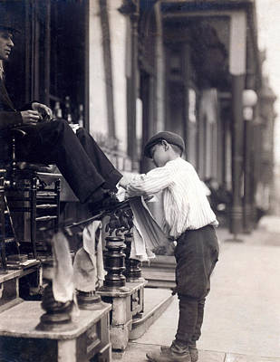 Occupational Portraits Photograph - Child Labor, Bootblack At 2 West 4th by Everett