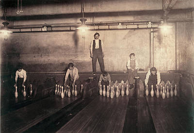 Child Labor, Pin Boys At A Bowling Art Print by Everett