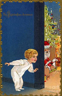 Child Listens As Santa Places Gifts By The Tree On Christmas Eve Print by American School