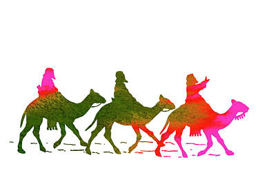 Camel Photograph - Child Or Nursery Picture - Three Wise Men On Camels by Donald Erickson