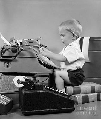 Photograph - Child Playing Accountant, C.1950s by H Armstrong Roberts ClassicStock