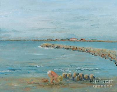 Child Playing At Provence Beach Art Print by Nadine Rippelmeyer