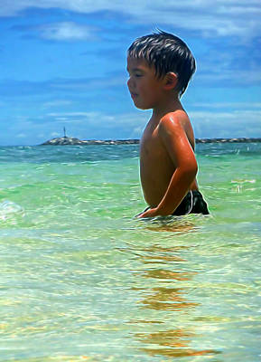 Mixed Media - Child Playing In The Ocean by Pamela Walton