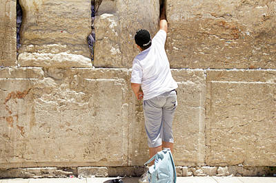 Jerusalem Photograph - Placing A Note In The Wailing Wall  by Yoel Koskas