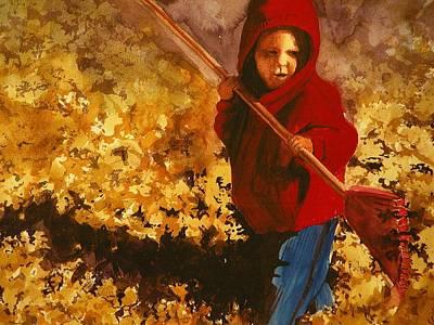 Child Raking Leaves Art Print by Walt Maes