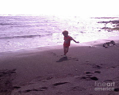 Child Running Black Sands Art Print by Sacred  Muse
