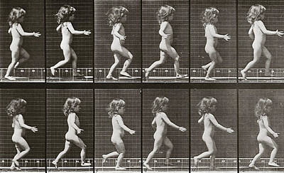 1887 Photograph - Child Running, Plate 469 From Animal Locomotion, 1887 by Eadweard Muybridge