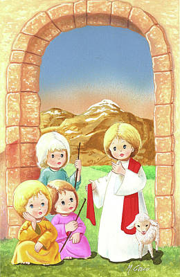 Painting - Child Shepherds by Laura Greco