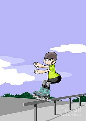Child Sliding Down The Railing Of The Park Ramp With His Roller Skates On Line. Art Print