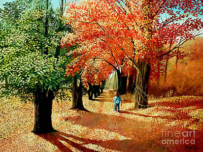 Painting - child walking into the Autumn Forest by Christopher Shellhammer