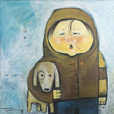 Painting - Can I Keep Him? / Child With Dog by Tim Nyberg