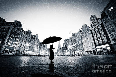 Sad Photograph - Child With Umbrella Standing Alone On Cobblestone Old Town In Rain by Michal Bednarek