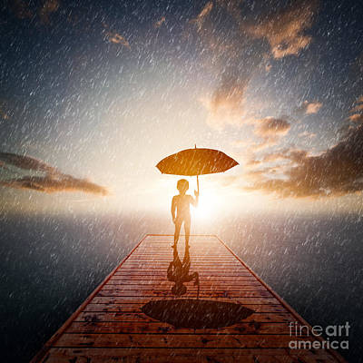 Grunge Photograph - Child With Umbrella Standing Alone Wooden Jetty In Rain Looking At The Sea by Michal Bednarek