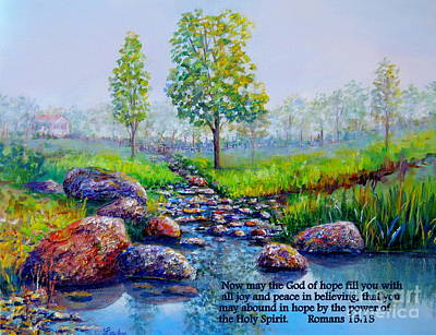 Painting - Childhood Creek With Scripture by Lou Ann Bagnall