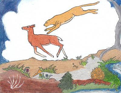 Mule Deer Drawing - Childhood Drawing Cougar Attacking Deer by Dawn Senior-Trask