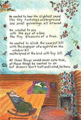 Old Cabins Drawing - Childhood Poem And Illustration by Dawn Senior-Trask