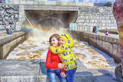 Drawing Digital Art - Children And A Rainbow by Tatiana Tyumeneva