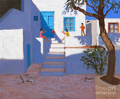 Mykonos Painting - Children And Cats, Mykonos by Andrew Macara