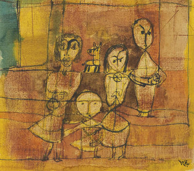 Children And Dog Art Print by Paul Klee