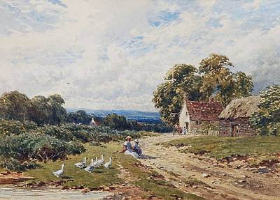 Sutton Painting - Children And Geese by Harry Sutton