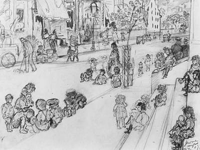 Drawing - Children At Play by Jerome Myers