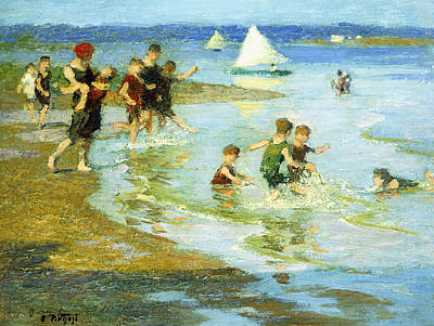 Children Sea Painting - Children At Play On The Beach by Edward Henry Potthast