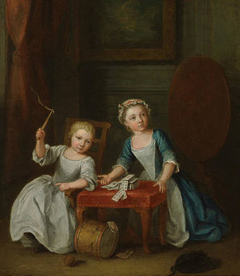 Painting - Children At Play, Probably The Artist's Son Jacobus And Daughter Maria Joanna Sophia by Joseph Francis Nollekens