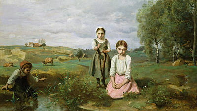 Children Beside A Brook In The Countryside, Lormes Art Print by Jean Baptiste Camille Corot