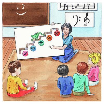 Painting - Children Book Illustration Jumping Frog by Irina Sztukowski